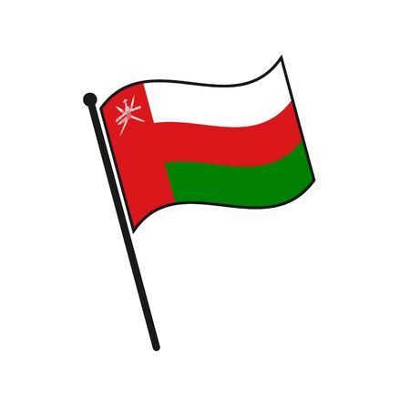 Simple flag Oman icon isolated on white background 일러스트