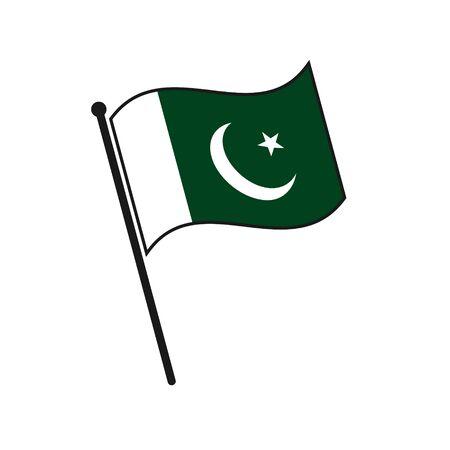 Simple flag Pakistan icon isolated on white background