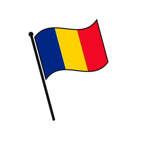 Simple flag Romania icon isolated on white background