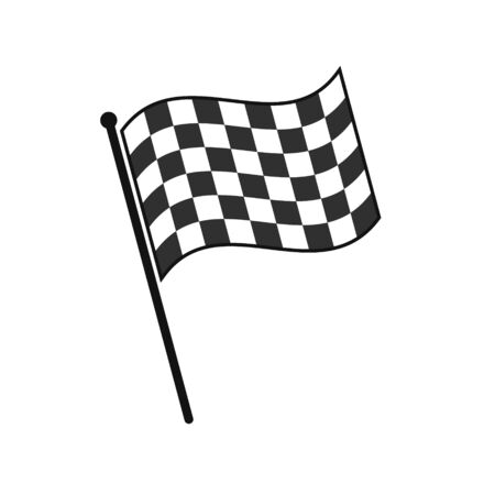 Simple checkered finish flag icon isolated on white background