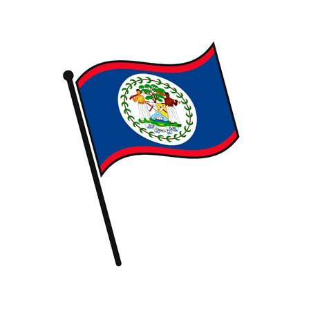 Simple flag Belize icon isolated on white background