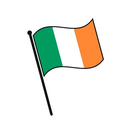 Simple flag Ireland icon isolated on white background Illusztráció