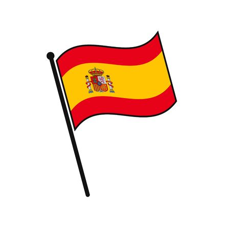 Simple flag Spain icon isolated on white background Vettoriali