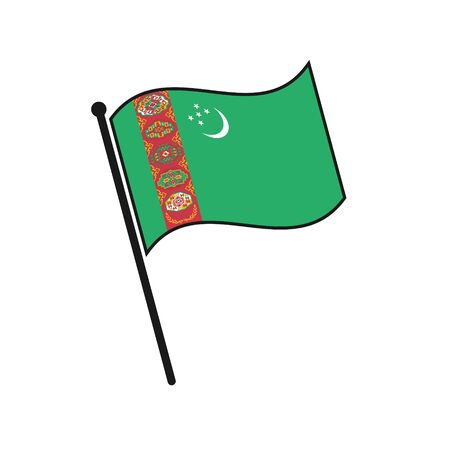 Simple flag Turkmenistan icon isolated on white background