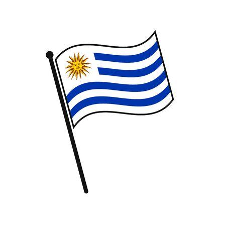 Simple flag Uruguay icon isolated on white background