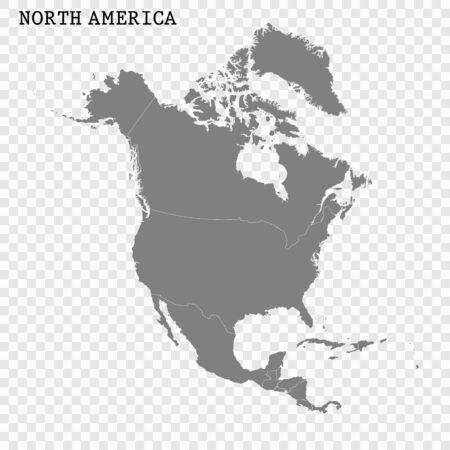 High quality map of North America with borders of the regions Çizim