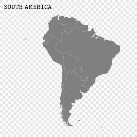 High quality map of South America with borders of the countries