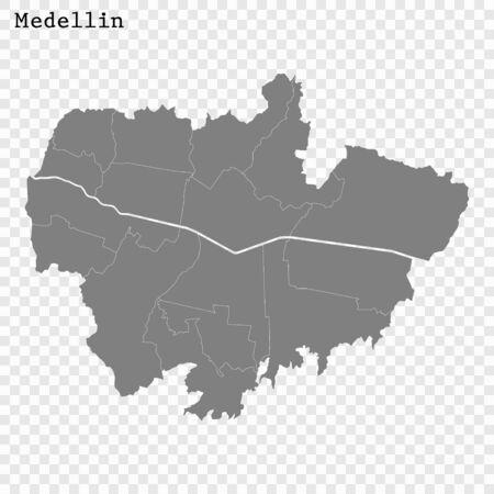 High quality Map Medellin City. vector illustration