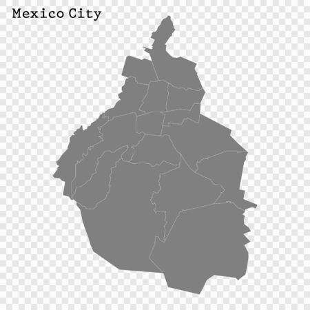 High quality Map Mexico City. vector illustration