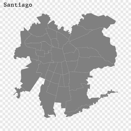 High quality Map Santiago City. vector illustration