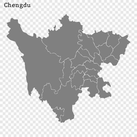 High quality Map Chengdu City. vector illustration Ilustracja