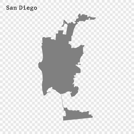 High quality Map San Diego City. vector illustration Stock Illustratie