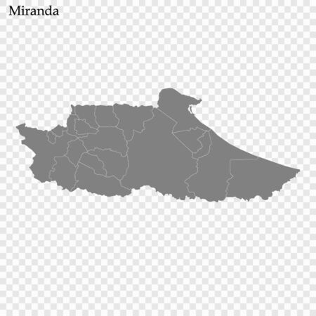 High Quality map of Miranda is a state of Venezuela, with borders of the municipalities