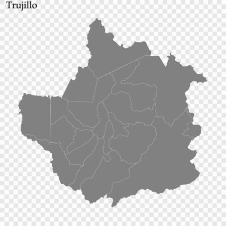 High Quality map of Trujillo is a state of Venezuela, with borders of the municipalities