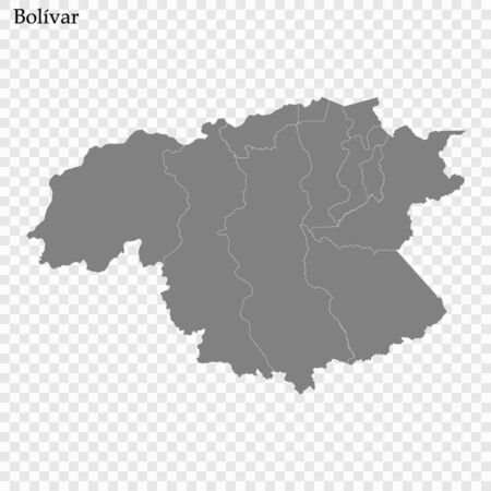 High Quality map of Bolivar is a state of Venezuela, with borders of the municipalities