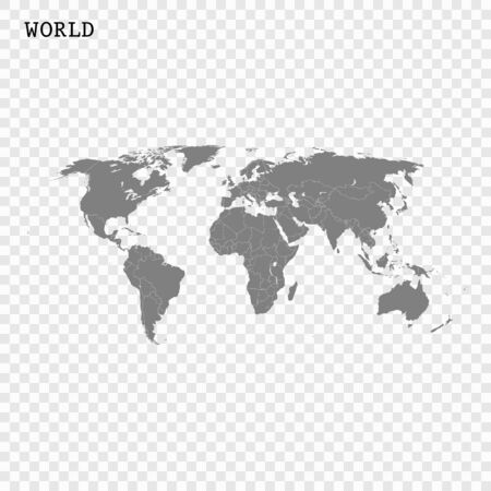 High quality world map with borders of the countries
