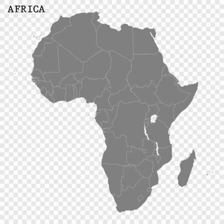 High quality map of Africa with borders of the regions