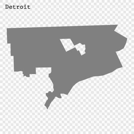 High quality Map Detroit City. vector illustration