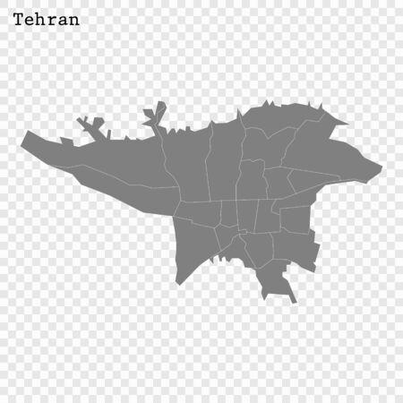High quality Map Tehran City. vector illustration