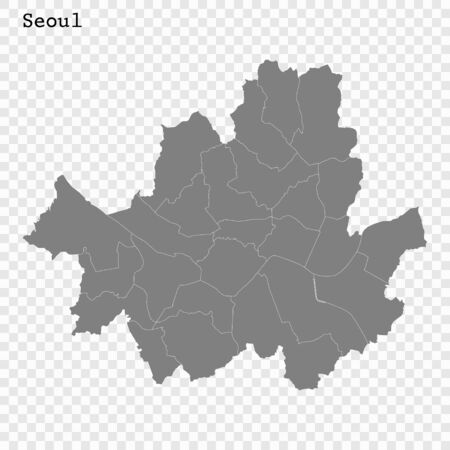 High quality Map Seoul City. vector illustration Çizim