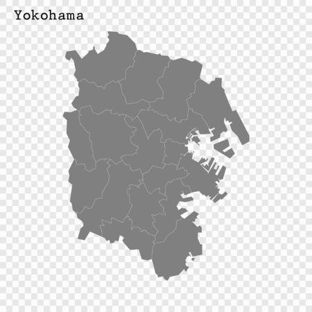 High quality Map Yokohama City. vector illustration