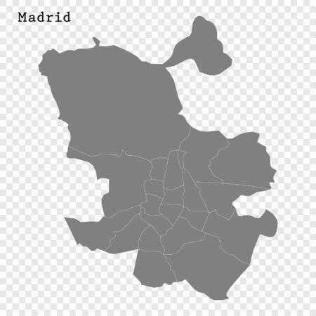 High quality Map Madrid City. vector illustration Ilustracja