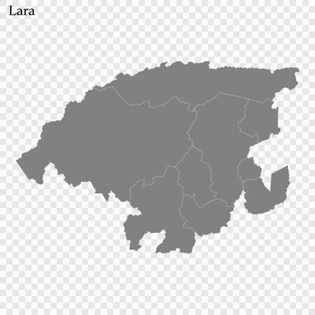 High Quality map of Lara is a state of Venezuela, with borders of the municipalities