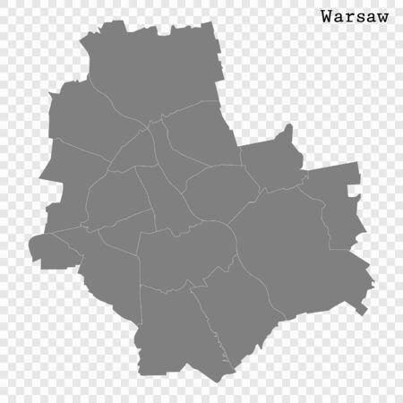 High quality Map Warsaw City. vector illustration