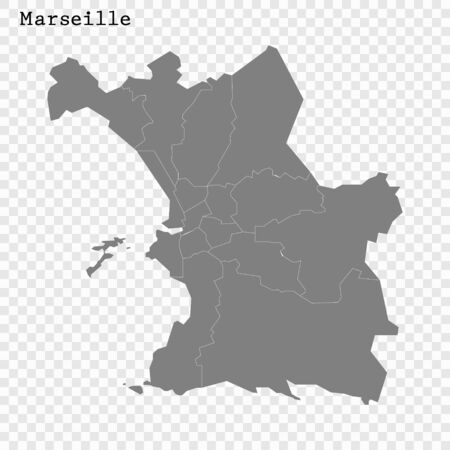High quality Map Marseille City. vector illustration