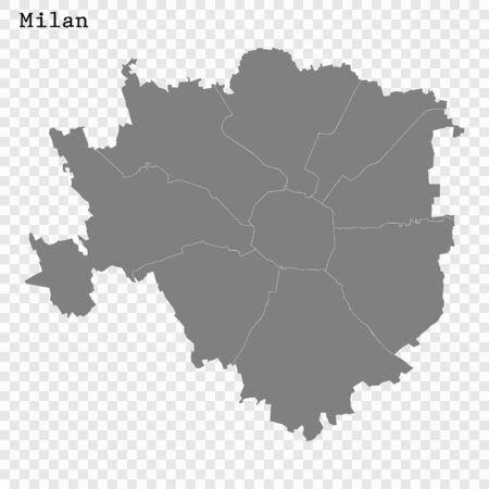 High quality Map Milan City. vector illustration