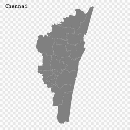 High quality Map Chennai City. vector illustration