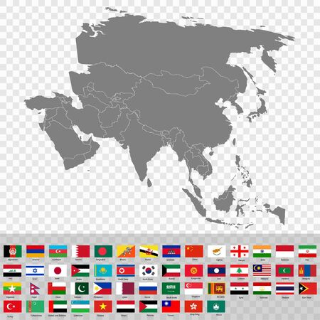 High quality map of the Asia with borders of the countries