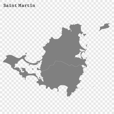 High Quality map of Saint Martin with borders of the divisions