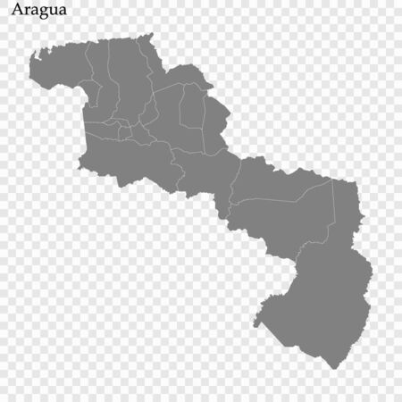 High Quality map of Aragua is a state of Venezuela, with borders of the municipalities Ilustracja
