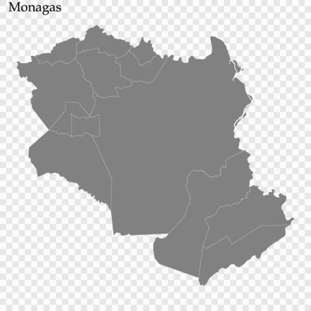 High Quality map of Monagas is a state of Venezuela, with borders of the municipalities