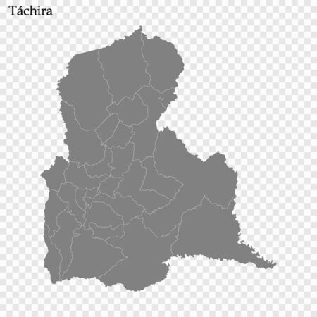 High Quality map of Tachira is a state of Venezuela, with borders of the municipalities Ilustracja