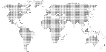 Mapa del mundo punteado. Ilustración vectorial. Plantilla para tu diseño