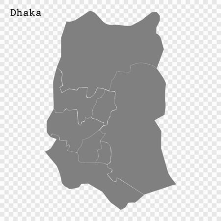High quality Map Dhaka City. vector illustration