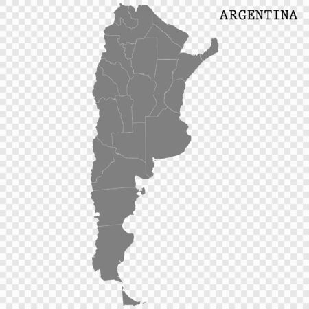 High quality map of Argentina with borders of the regions