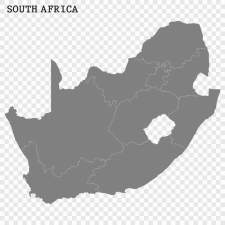 High quality map of South Africa with borders of the regions