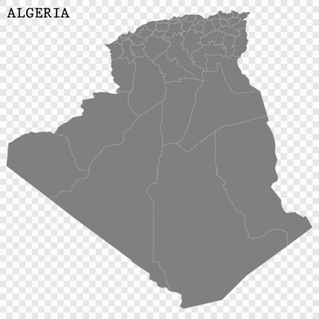 High quality map of Algeria with borders of the regions Vectores