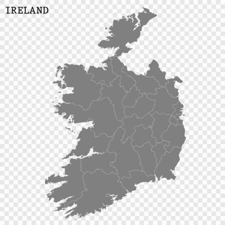 High quality map of Ireland with borders of the regions
