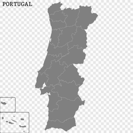 High quality map of Portugal with borders of the regions 일러스트
