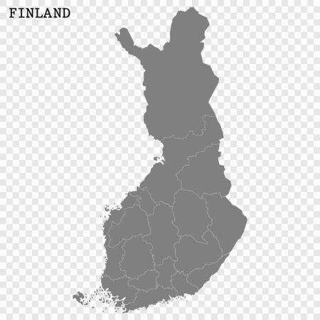 High quality map of Finland with borders of the regions 向量圖像