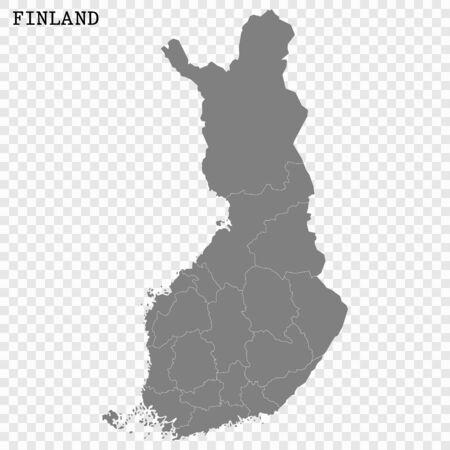 Hochwertige Karte von Finnland mit Grenzen der Regionen