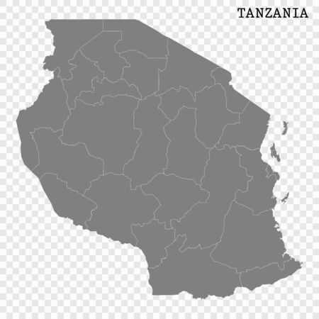 High quality map of Tanzania with borders of the regions