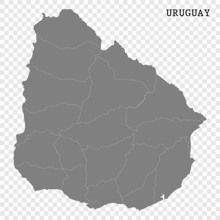 High quality map of Uruguay with borders of the regions Ilustração
