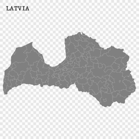 High quality map of Latvia with borders of the regions Vectores