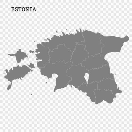 High quality map of Estonia with borders of the regions