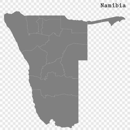 High quality map of Namibia with borders of the regions